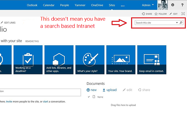 Search bar does not mean search based intranet