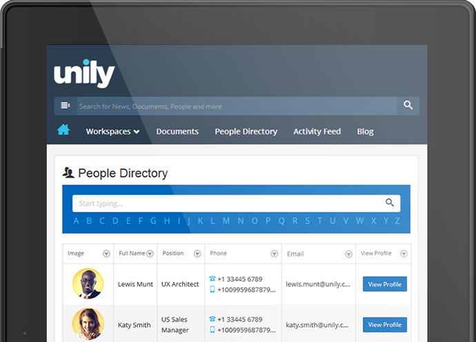 Unily Intranet - People Directory