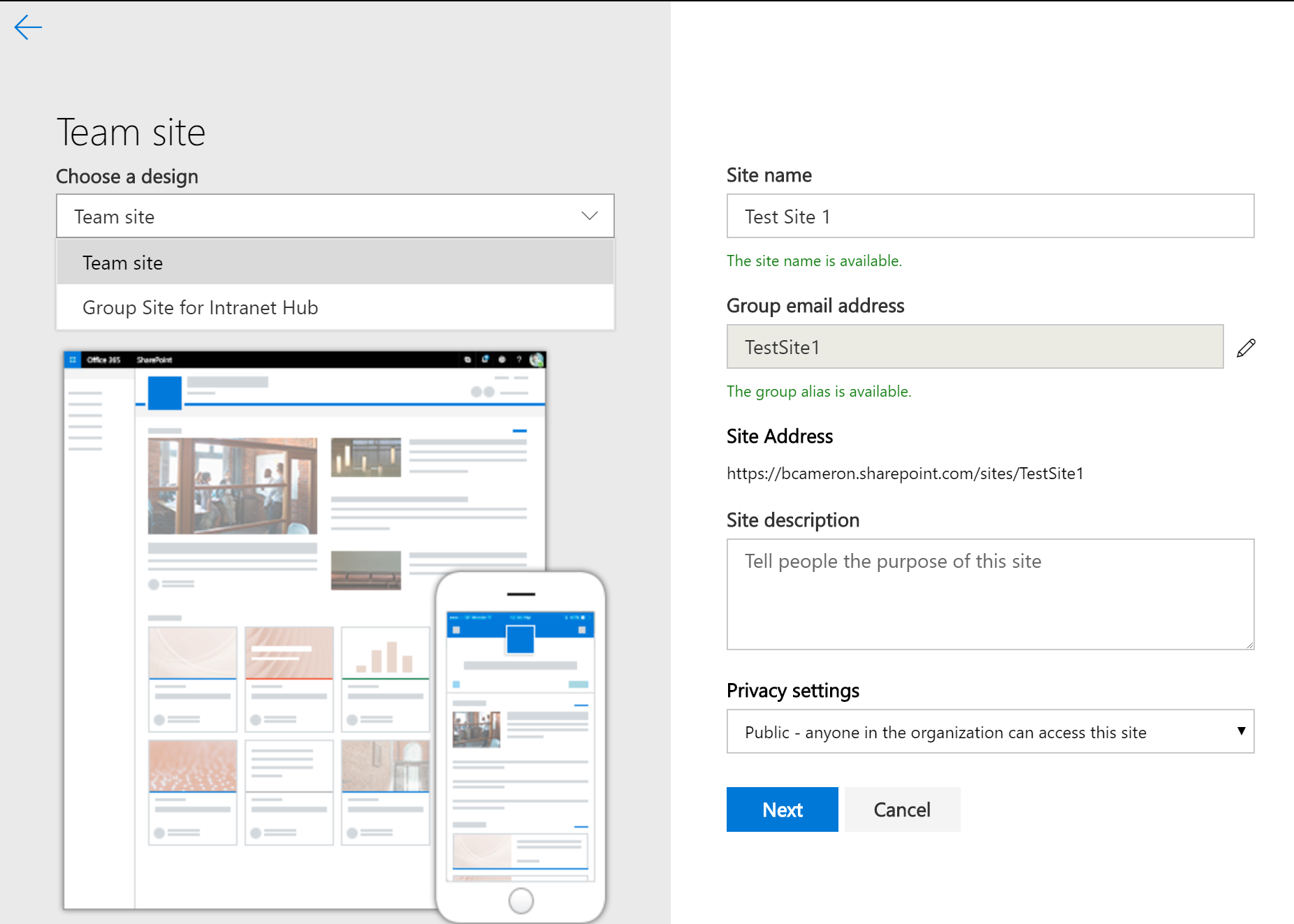 Auto Provision Office 365 sites in a Hub Site using Site Designs
