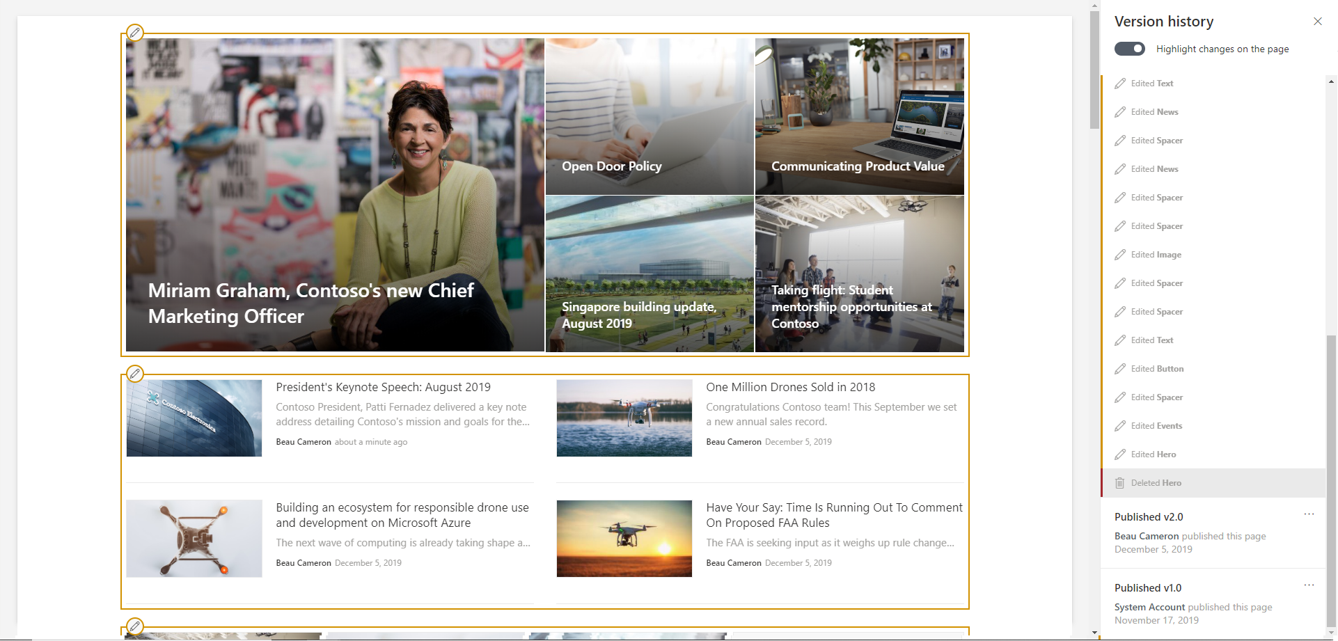 SharePoint Page Version history Outlined