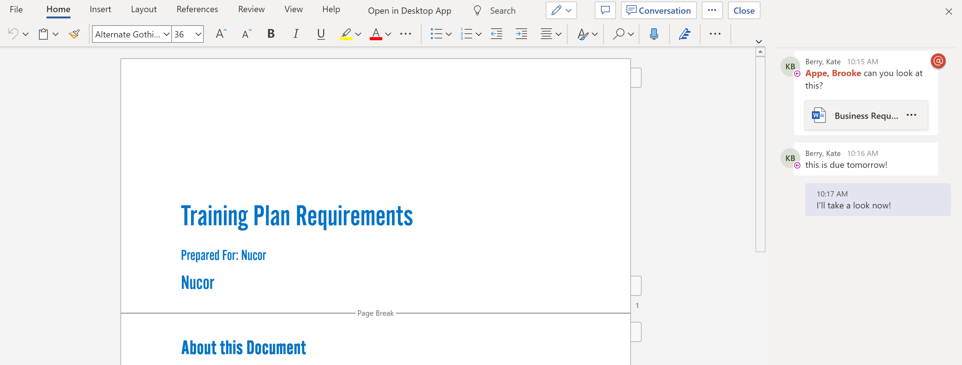 Teams discussion in word document