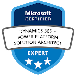 Microsoft Certification badge: Dynamics 365 + Power Platform Solution Architect Expert